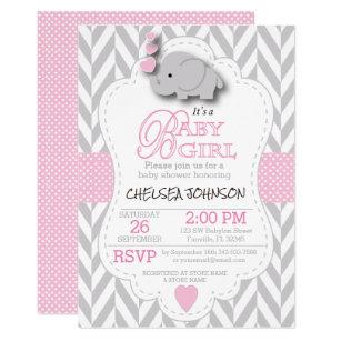 Elephant baby shower invitations zazzle pink white grey elephant baby shower invitation filmwisefo