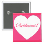 Pink white heart customisable bridesmaid button