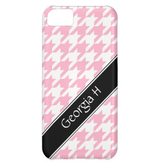 Pink & White Houndstooth custom iPhone 5 Case