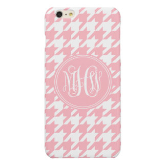 Pink White Houndstooth Pink Vine Monogram Glossy iPhone 6 Plus Case