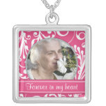 Pink White In Memory of Photo Template Necklace