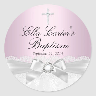 Pink White Lace & Cross Baptism Sticker