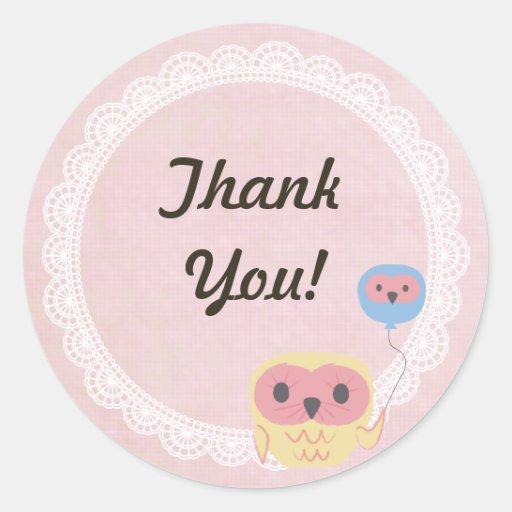 Pink & White Lace Owl Wedding Thank You Sticker