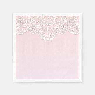 Pink, White Lace, Religious Disposable Napkin