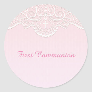 Pink, White Lace, Religious Round Sticker
