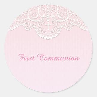 Pink, White Lace, Religious Round Sticker
