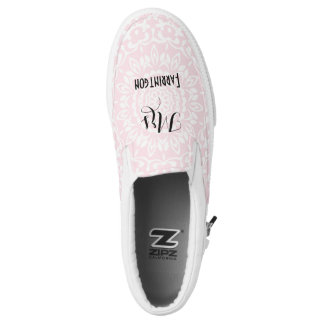 Pink White Lacy Print Personalized Brides Wedding Slip-On Shoes
