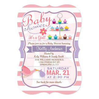 Pink, White, & Lavender Purple Stork Baby Shower 13 Cm X 18 Cm Invitation Card