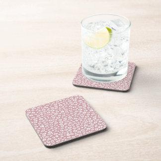 Pink White Leopard Print Beverage Coasters