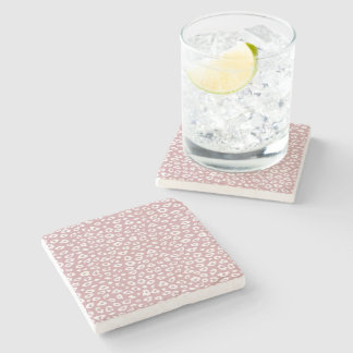 Pink White Leopard Print Stone Beverage Coaster