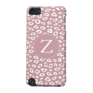 Pink White Leopard Print Monogram iPod Touch (5th Generation) Cases