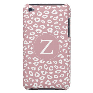Pink White Leopard Print Monogram iPod Touch Case