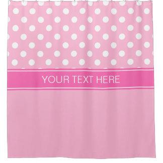Pink White LG Dot Hot Pink CB Name Monogram Shower Curtain