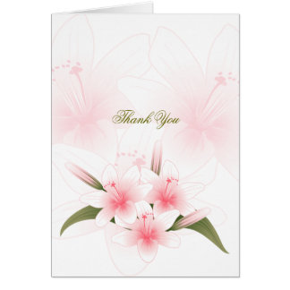 Pink & White Lilies Thank You Blank Note Card