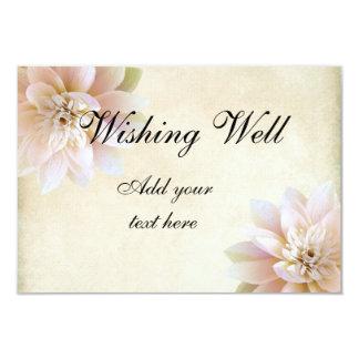 Pink White Lotus Flower Wishing Well 9 Cm X 13 Cm Invitation Card