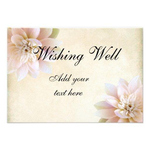 Pink White Lotus Flower Wishing Well Custom Invite