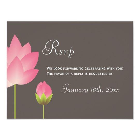 Pink white lotus flowers wedding rsvp response card