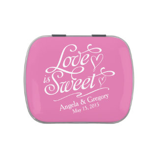 Pink White Love is Sweet Wedding Candy Tin