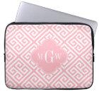 Pink White Med Greek Key Diag T Pink Name Monogram Laptop Sleeve