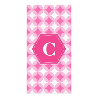 Pink White Monogram Pattern Personalised Photo Card