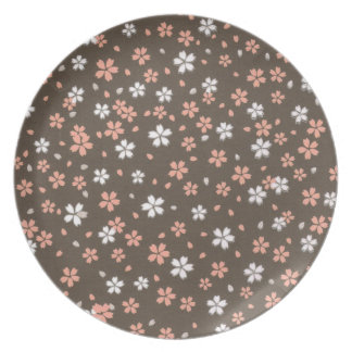 Pink & White Origami Flowers Party Plates