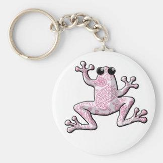 Pink White Paisley Frog Key Ring