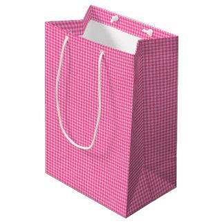 Pink-White Pastel Gingham-GIFT BAG m