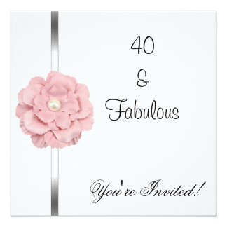 Pink White Pearl Flower Fabulous 40th Birthday Card