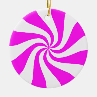 Pink & White Peppermint Candy Christmas Ornament