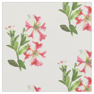 Pink White Petunias Cotton Fabric