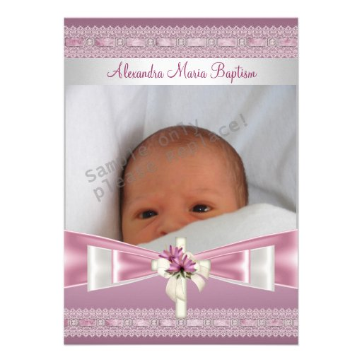Pink White Photo Cross Baptism Christening Personalized Announcements