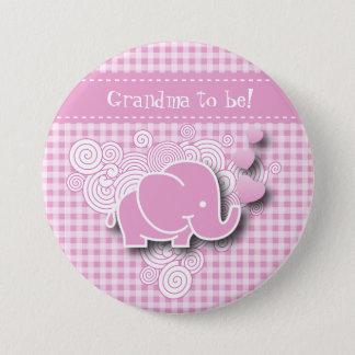Pink & White Plaid Baby Elephant | DIY Text 7.5 Cm Round Badge