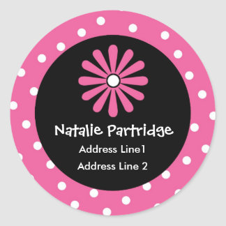 Pink & White Polka Dot Address Labels Round Sticker