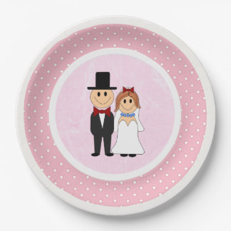 Pink & White Polka Dots Bride and Groom Wedding 9 Inch Paper Plate