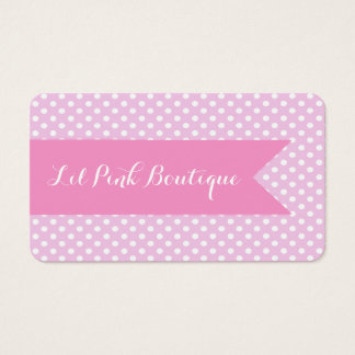 Pink & White Polka Dots Business Card