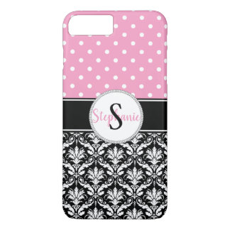 Pink White Polka Dots Damask Monogram iPhone 8 Plus/7 Plus Case