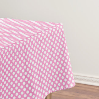 Pink White Polka Dots Girly Birthday Party Tablecloth