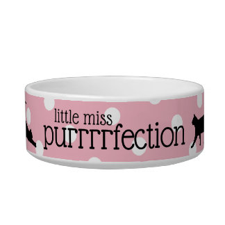 Pink White Polka Dots Little Miss Purrrrfection Bowl