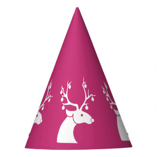 Pink & White Reindeer HAPPY HOLIDAYS Party Hat