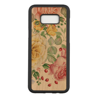 Pink & White Roses Illustration Carved Samsung Galaxy S8+ Case