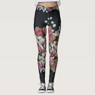 Pink White Roses  Leggings