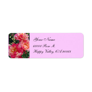 Pink White Roses Simple Return Address Labels