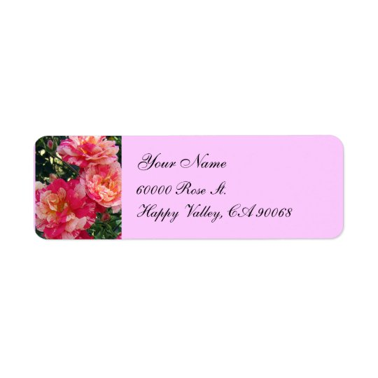 Pink White Roses Simple Return Address Labels