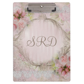 Pink & White Roses Victorian lace gold frame Clipboard