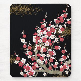 Pink & White Sakura Vintage Japanese Flower Mouse Pad