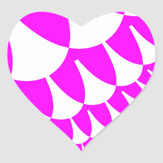 Pink White Scales Heart Stickers