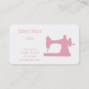 Sewing business cards zazzle au pink white sewing machine tailor business card colourmoves