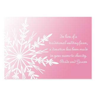 Pink White Snowflake Winter Wedding Charity Favor Pack Of Chubby Business Cards