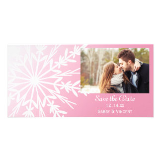 Pink White Snowflake Winter Wedding Save the Date Photo Cards