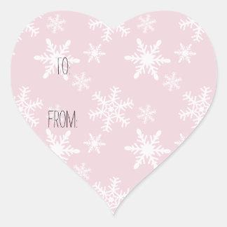 Pink White Snowflakes Gift Tag